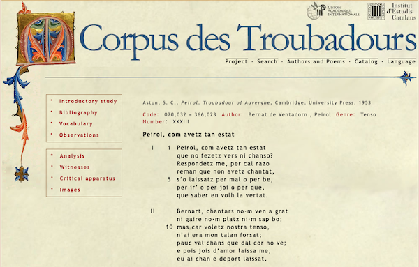 Layout of a poem on the website Corpues des Troubadours
